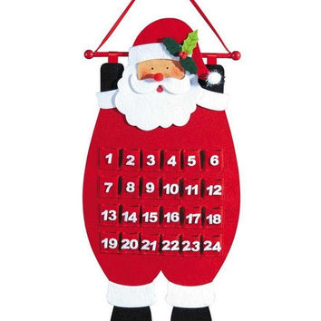 """26.5"""" Red, Black and White Decorative Santa Advent Calender Hanging Christmas Decoration"""