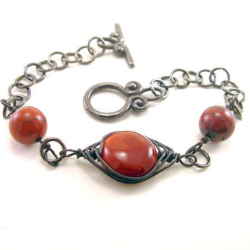 Carnelian Bracelet, Red Jasper Bracelet, Chain Bracelet with Herringbone Wire Wrap, Herringbone Jewelry