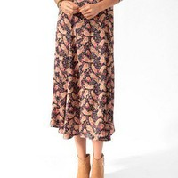 Paisley Print Skirt w/ Belt