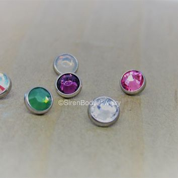 14g Dermal anchor piercing top 4mm 316L stainless steel bezel set gemstone