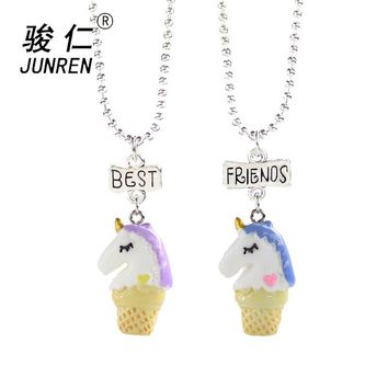 2 Pcs/set Ice Cream unicorn Pendant Necklace Resin Best Friend Lovely Heart Friendship Necklaces Children birthday Jewelry Gift