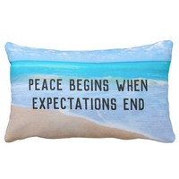 Inspirational Quote with Tropical Beach Scene Lumbar Pillow