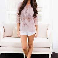 Beach Bum Crochet Lace Up Chest Detail Top (Tea Rose)