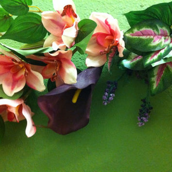 Handmade Artificial Floral Swag: Spring colors in Dark Purple Calla Lilies with Pink Orchids Berries and Greenery