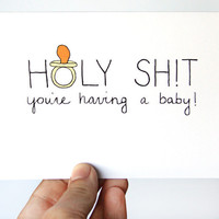 Funny New Baby Card Congratulations New Baby Card by JulieAnnArt