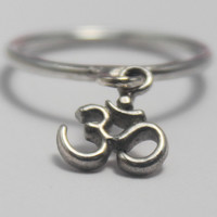 Sterling silver Om, Aum, Ohm Loose charm, 925 stacking ring : Universal Symbol of the Absolute/Divine.