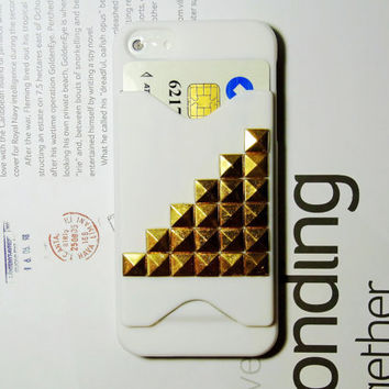Cool ID / Name / Credit Card Holder 3D Metal Studded Alloy TRIM POCKET pyramid cute Russian Puzzle Hard Case Cover for iPhone 5 5G White