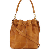 Medium Patchwork Bucket Bag, Light Cognac
