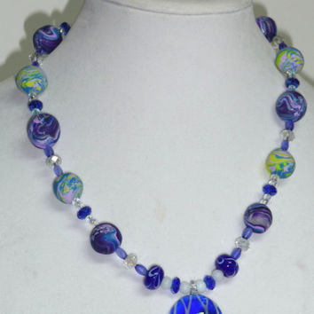 OOAK Electric Blue Necklace with Glass Centerpiece and Handmade Polymer Clay Beads