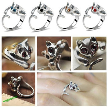 1 Pc Women Lovely Silver Plated Adjustable Kitten Cat Animal Crystal Alloy Ring = 1930089860