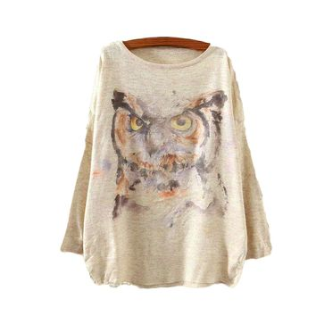 Watercolor Owl Printed Knitted Long Sleeve