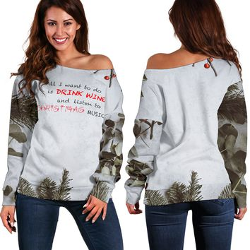 Women's Christmas Off Shoulder Sweaters - Music & Wine