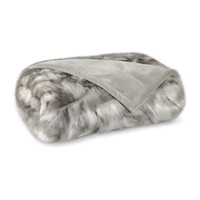 Faux Fur Throw, Gray Fox