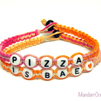 Bracelets for Pizza Lovers, Pizza is Bae, Sherbert Macrame Hemp Jewelry, Orange and Pink