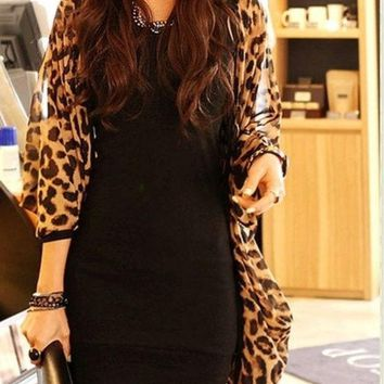 CREYUG3 women shirt Sexy Fashion Ladies Long Sleeve Leopard Print Batwing Blouse For Women Chiffon Top Loose Shirts One Size (Size: One Size) = 1946500740