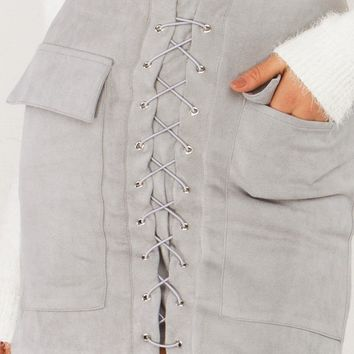 Lace Up Suede Skirt in Grey