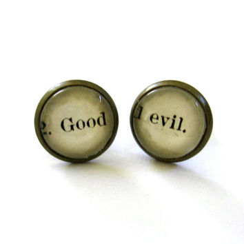 Good and Evil Vintage Library Card Word Earrings Aged Brass Post Studs
