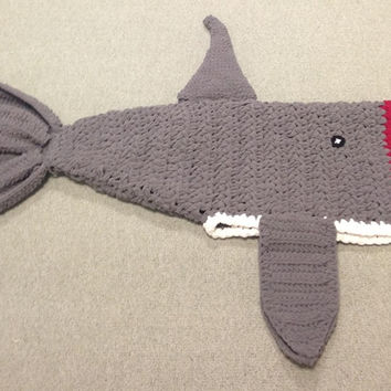Dark Grey Crochet Killer Shark Blanket Sizes Preschool Child and Adult