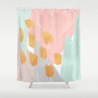 Soft Angles 2 - coral and mint abstract Shower Curtain by Allyson Johnson | Society6