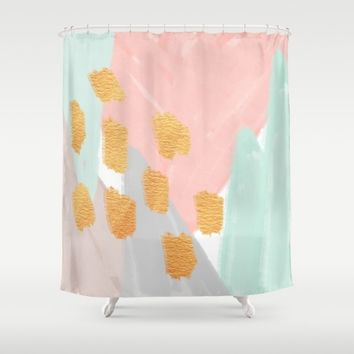Soft Angles 2   Coral And Mint Abstract Shower Curtain By Allyso