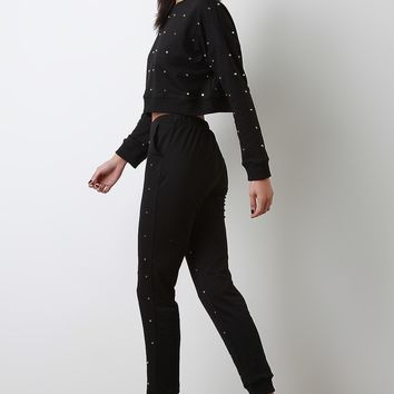Stud Embellished Crop Top With Jogger Pants Set