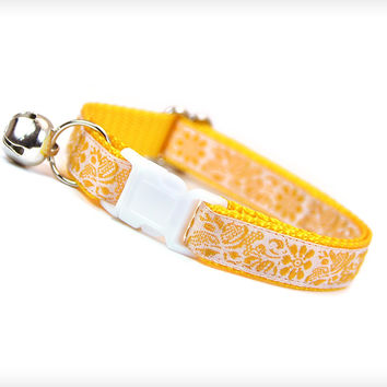 "Cat Collar - ""Goldenrod"" - Yellow Floral Embroidery on Ivory"