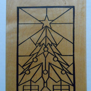 Rubber Stamp Christmas Tree Stained Glass Window Wood Mounted Crafting 1995