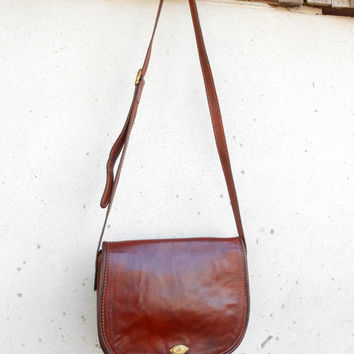 Vintage THE BRIDGE 037713 Chestnut Brown Leather Purse , Messenger , Crossbody , Shoulder Bag // Medium // Made in Italy