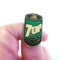 7 Up Soda Can Pin, Jacket Lapel Pin Badge, Enamel Badge, Fun Enamel Pin, Weird Lapel Pin, 80s Flair Soda Pin, Cute Backpack Pin