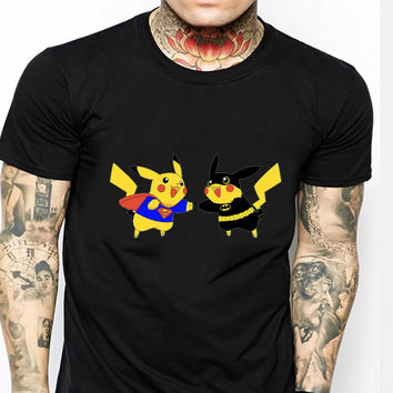 Pikachu Superman Vs Batman Funny ST Mens T-shirt Black and White