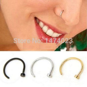 ac DCCKO2Q FD737 Titanium Silver Black Gold Nose Hoop Ring Earring Body Piercing fake nose septum 1.0*10mm