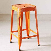 Magical Thinking Painted Industrial Stool- Orange One