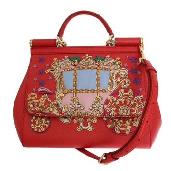 Red Leather Carretto Crystal SICILY Bag