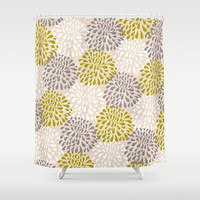 "Shower Curtain - 71"" by 74"", Home, Decor, Bathroom, Bath, Boho, Dorm, Girl, Christmas, Gift, Nature, Abstract, Pastel, Floral, Yellow, Gray"