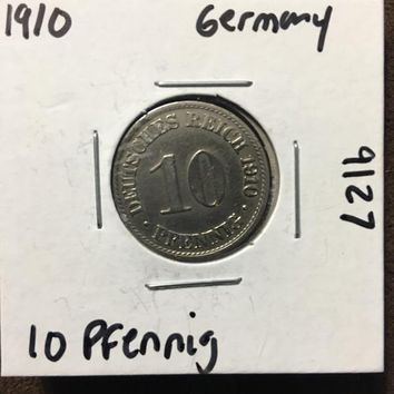 1910 German Empire 10 Pfennig Coin 9127