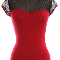 Miss Dainty Netted Top in Crimson