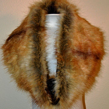Women's Long Red Fox Faux Fur Cowl, Neck Warmer, Neck Piece, Circle Scarf, Ready to Ship!