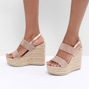 ASOS DESIGN Teoni High Metallic Espadrille Wedges at asos.com