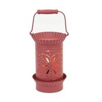 """Tin Lantern Style Tart Warmer - Red Heart. Perfect for Warming Tarts, and Scented Oils. There Is an Easy to Use On/off Switch Located on the Power Cord. Our Candle Warmers Use 25w Bulbs (Included). Overall Height 6""""."""