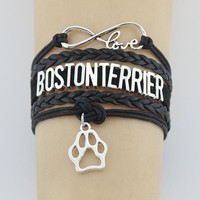 Infinity Love Boston Terrier Bracelet  Handmade Bracelets Jewelry