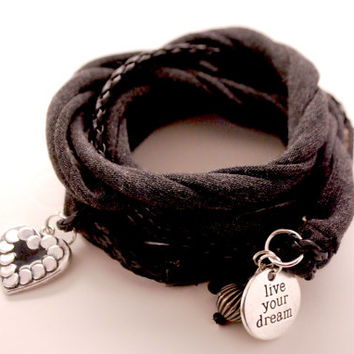 BLACK Leather and Dark GRAY Stretch Wrap Bracelet Fashion accessory Women Teens Wrist Tattoo Cover