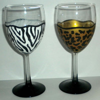 Wine Glasses - Safari Print - Animal Print - Zebra - Cheetah - Leopard - Set of 2 Glasses - Handpainted