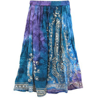 Mogulinterior Wrap Around Skirt Blue Animal Printed Sarong Hippie Long Boho Clothing