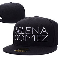 HAIHONG Selena Gomez Logo Adjustable Snapback Embroidery Hats Caps - Black