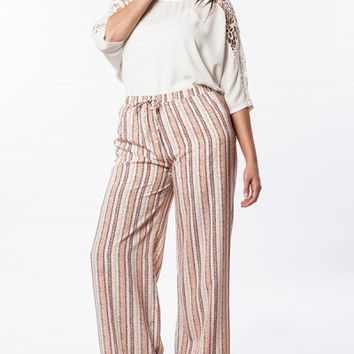 Plus Size High Waist Printed Palazzo Pants