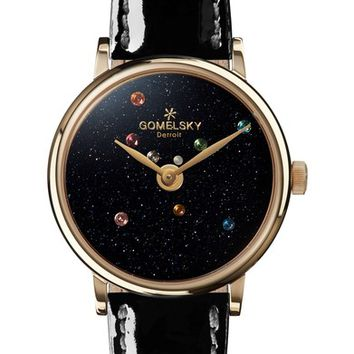 Gomelsky The Agnes Varis Solar System Leather Strap Watch, 32mm   Nordstrom