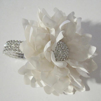 Corsage Stunning Ivory Satin Rhinestone Wrist Corsage Bracelet Bridesmaid Mother of the Bride Prom with Rhinestone Accent Custom Order