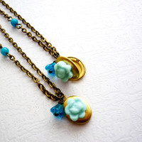 Set of 2 Blue Wedding Jewelry, Bridesmaid Gift, Bronze Locket, Vintage Rustic Weddings, Free Shipping to EU, US, CAN