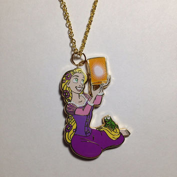 Rapunzel Floating Lantern PINdant Necklace- Up-Cycled Disney Trading Pin of Rapunzel and Pascal from Tangled