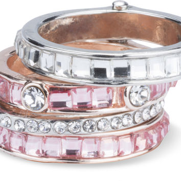 Romance - Ring with 4 Stacked Crystal Layers